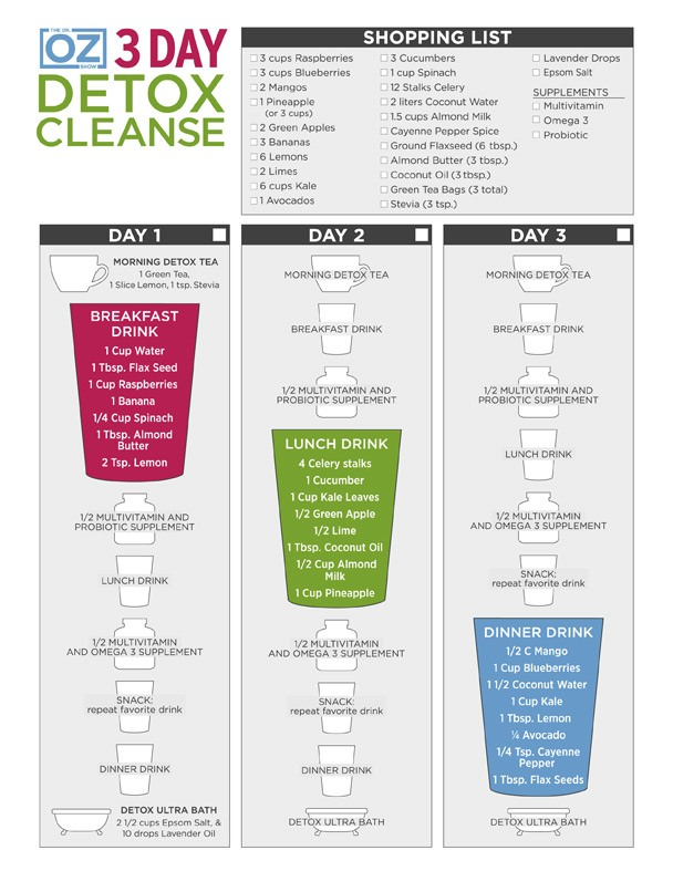 DR OZ 3 day detox cleanse plan