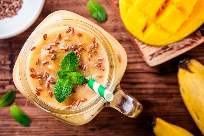 Tropical mango smoothie with flaxseed